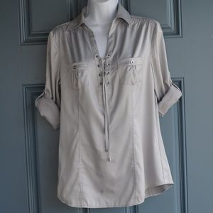 Silver Tie Front 3/4 Sleeves Top by WHBM Sz. 6